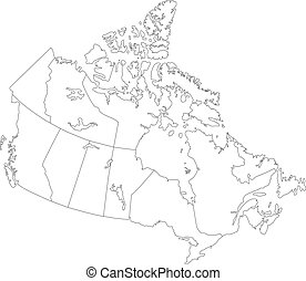 Outline Canada map - Canada map with province borders
