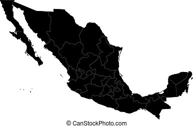 Black Mexico map
