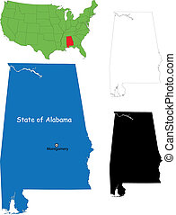 Alabama map - State of Alabama, USA