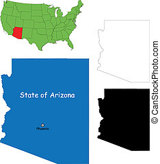 Arizona map - State of Arizona, USA