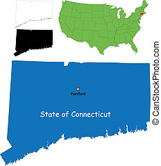 connecticut map - State of Connecticut, USA