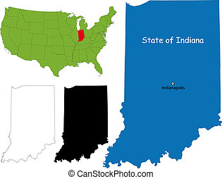 Indiana map - State of Indiana, USA