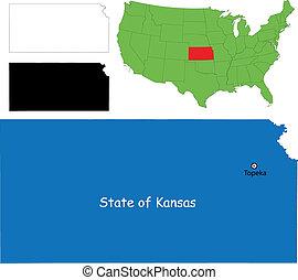 Kansas map - State of Kansas, USA