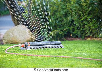 lawn sprinkler irrigates rural garden