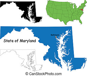 Maryland map - State of Maryland, USA