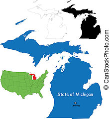 Michigan map - State of Michigan, USA