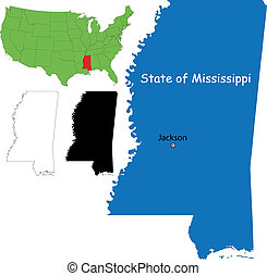 Mississippi map - State of Mississippi, USA