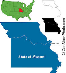 Missouri map - State of Missouri, USA