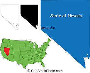 Nevada map - State of of Nevada, USA