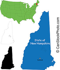 New hampshire map - State of New Hampshire, USA