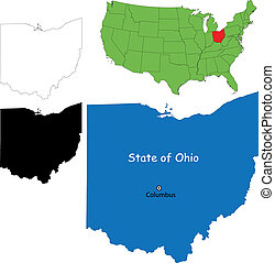 Ohio map - State of Ohio, USA