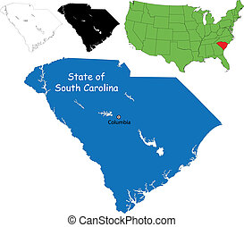 South carolina map - State of South Carolina, USA