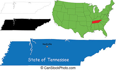 Tennessee map - State of Tennessee, USA