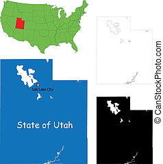 Utah map - State of Utah, USA