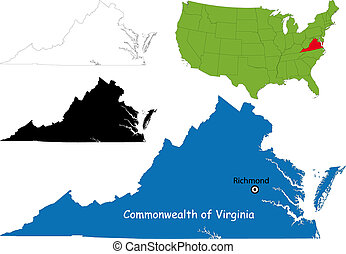 Virginia map - Commonwealth of Virginia, USA