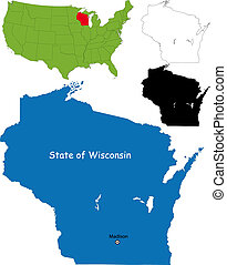 Wisconsin map - State of Wisconsin, USA