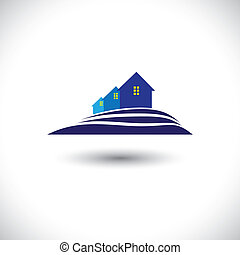 Househome and residence icon for real-estate- vector graphic...