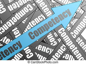Competency arrow - Hi-res original 3d-rendered computer...