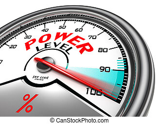 power level conceptual indicator meter isolated on white...