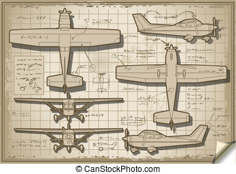 Old Plane Project in Five Views - Detailed illustration of a...