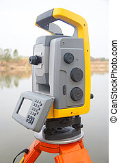 The total station The geodetic and topography measuring tool...