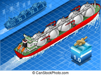 Isometric Gas Tanker Ship in Navigation - detailed...