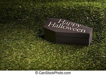 Halloween, cercueil, pelouse