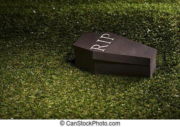 dia das bruxas, caixão, gramado