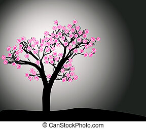 Abstract flowering tree