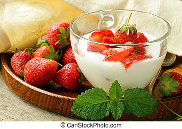 dairy dessert - yogurt strawberries - dairy dessert - yogurt...