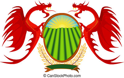Heraldry, red dragons holding a shield, file EPS.8...
