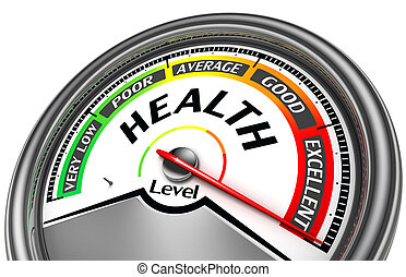 health level conceptual meter indicate excellent, isolated...