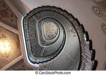 Art Nouveau staircase - Decorative art nouveau staircase in...