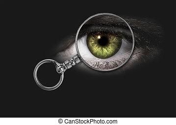 Magnifying glass, eye