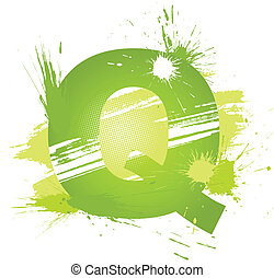Green abstract paint splashes font. Letter Q. Vector on...