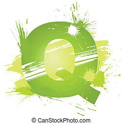 zielony, Abstrakcyjny, malować, plamy, chrzcielnica,...