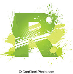 Green abstract paint splashes font Letter R Vector on white...