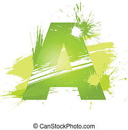 Green abstract paint splashes font. Letter A. Vector on...