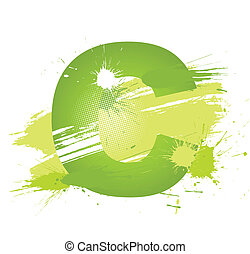 Green abstract paint splashes font. Letter C. Vector on...