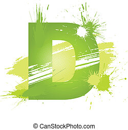 Green abstract paint splashes font Letter D Vector on white...
