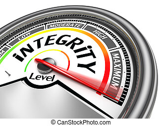 integrity conceptual meter indicate maximum, isolated on...
