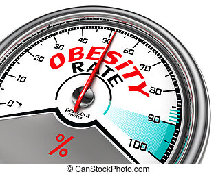 obesity rate conceptual meter isolated on white bacckground