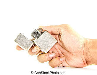 classic silver gasoline lighter in man hand - Vintage silver...