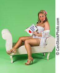 Blushing pinup girl