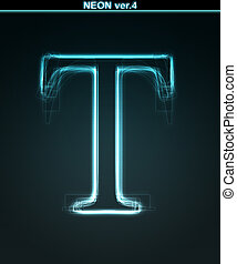 Glowing neon font. Shiny letter T