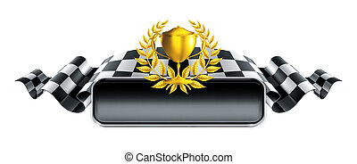 correndo, bandeira, troféu, 10eps