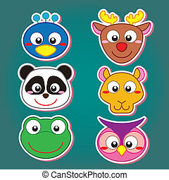cute animal head icon - six cute cartoon animal head icons