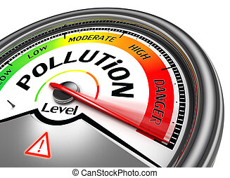pollution level conceptual meter, isolated on white...