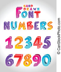 Hand drawn vector font Numbers Letters see in portfolio