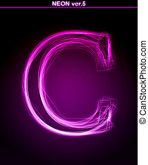 Glowing font Shiny letter C - Glowing neon letter on black...